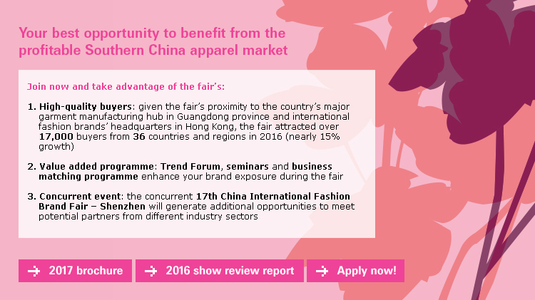Your best opportunity to benefit from the profitable Southern China apparel market